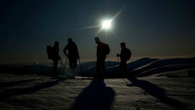 Raquetas de nieve nocturnas Sierra Madrid