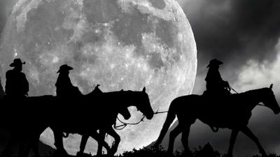 Caballos bajo la luna Sierra de Guadarrama