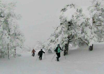 raquetas de nieve en el puerto de navafría