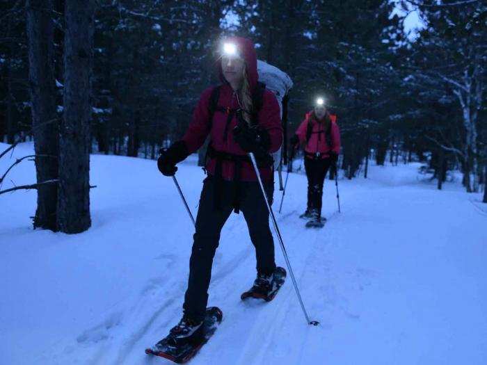 Raquetas de nieve nocturnas en Peñalara Sierra de Madrid